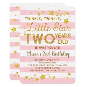 Pink 2nd Birthday Invitations Twinkle Little Star