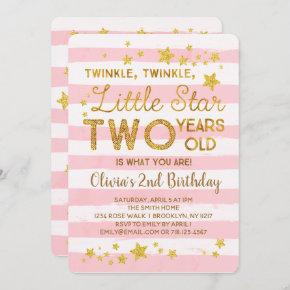 Pink 2nd Birthday Invitation Twinkle Little Star