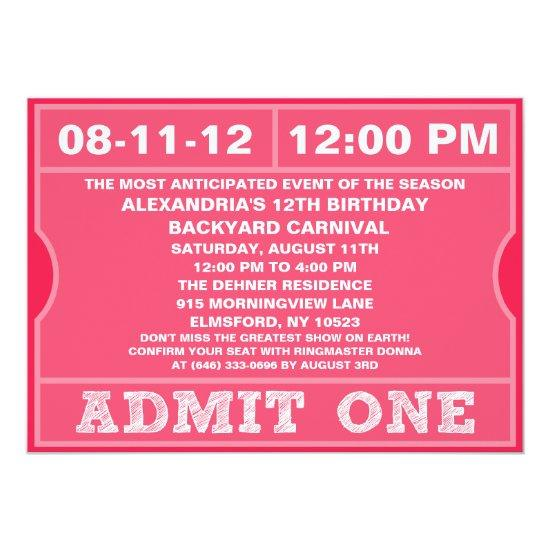 Pink Admit One Ticket Invitation Birthday Party Candied Clouds