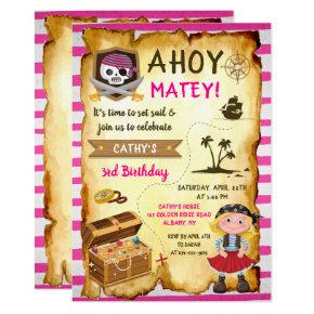 Pink Ahoy Treasure Map Girls Pirate Birthday Invitation