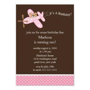Pink Airplane Girl's Birthday Invitations