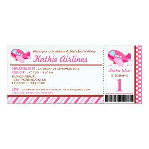 Pink Airplane Ticket Birthday Party Invitations