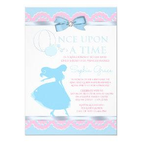 Pink and Blue Cinderella Birthday Party Invitations
