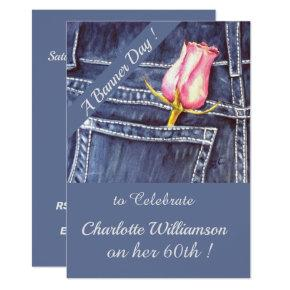 Pink and Blue Denim Watercolor Floral Birthday Invitation