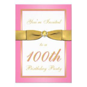 Pink and Gold 100th Birthday Invitation