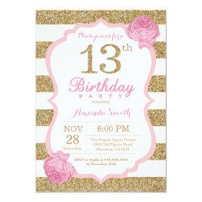 Pink and Gold 13th Birthday Invitation Floral
