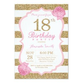 Pink and Gold 18th Birthday Invitation Floral