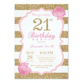 Pink and Gold 21st Birthday Invitation Floral