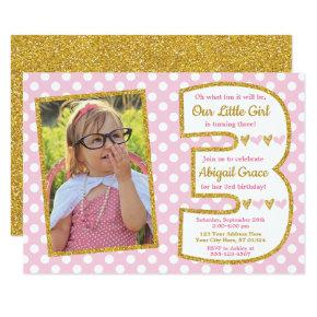 Pink and Gold 3rd Birthday Invitations