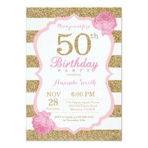Pink and Gold 50th Birthday Invitation Floral