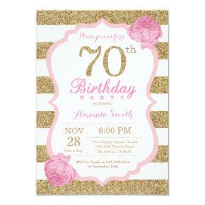 Pink and Gold 70th Birthday Invitation Floral