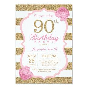 Pink and Gold 90th Birthday Invitation Floral