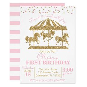 Pink and Gold Carousel Girls Birthday Invitation