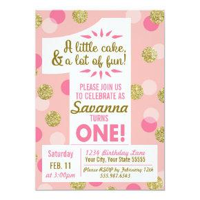 Pink and Gold Confetti First Birthday Invitation