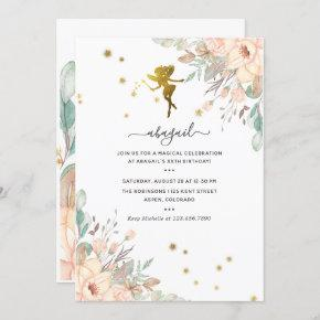 Pink and Gold Fairy themed Girl Birthday Party Invitation