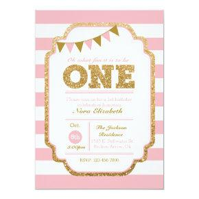 Pink and gold First Birthday Invitation