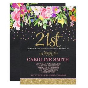Pink and Gold Floral 21st Birthday Invitations