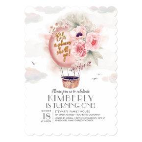 Pink and Gold Floral Hot Air Balloon 1st Birthday Invitation