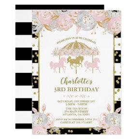 Pink and Gold Glitter Carousel Birthday Invitation