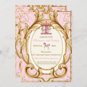 Pink and Gold Horse Carousel Party Invitation