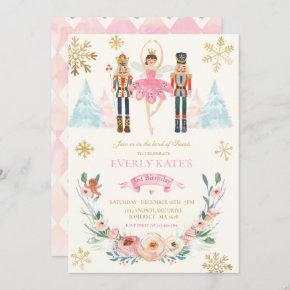 Pink And Gold Nutcracker Birthday Sugar Plum Fairy Invitation