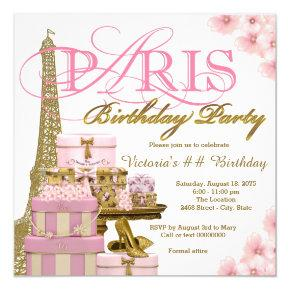 Pink and Gold Paris Birthday Party Invitations