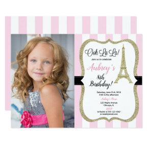 Pink and gold Paris Eiffel tower birthday photo Invitation
