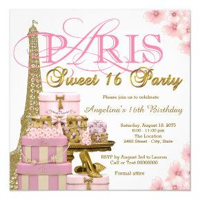 Pink and Gold Paris Sweet 16 Party Card
