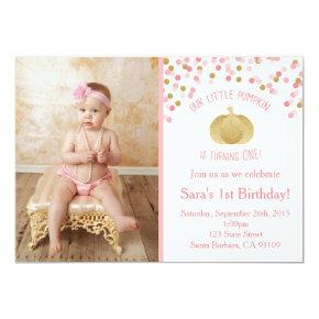 Pink and Gold Pumpkin Invitations First Birthday