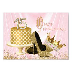 Pink and Gold Quinceanera Birthday Party Invitations