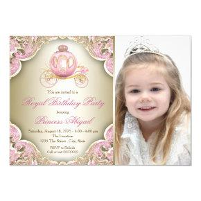 Pink and Gold Royal Princess Photo Birthday Party Invitations
