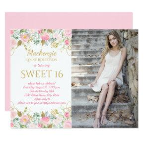 Pink and Gold Watercolor Flowers Photo Sweet 16 Invitation