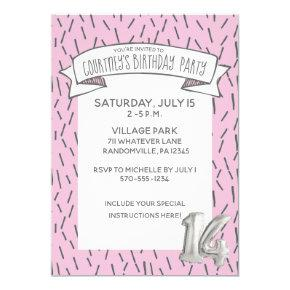 girls 14th party birthday invitations candied clouds