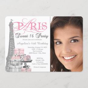 Pink and Gray Paris Sweet 16 Birthday Party Invitation