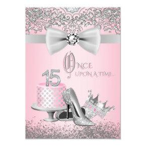 Pink and Gray Quinceanera Invitation