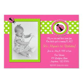 Pink and Green Ladybug Girls Birthday Invitation