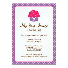 Pink and Purple Cupcake Polka Dot Birthday Party Invitations