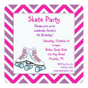 Pink and Purple Roller Skate Birthday Invitations