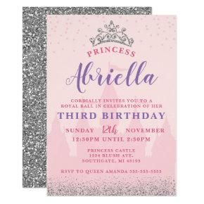 Pink and Silver Princess Birthday Invitation