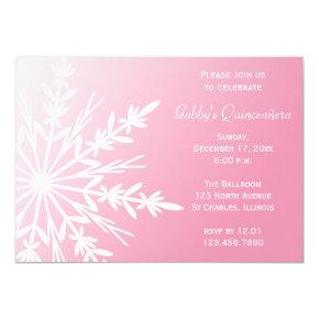 Pink and White Snowflake Winter Quinceañera Invite