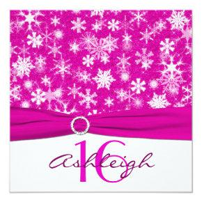 Pink and White Snowflakes 16th Birthday Invitations