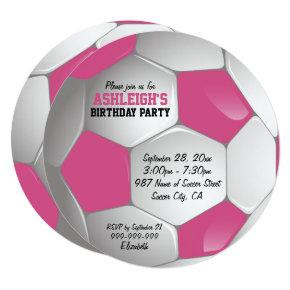 Pink and White Soccer Ball Birthday Party Invitation