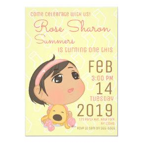 Pink and Yellow First Birthday Baby Girl Party Invitation