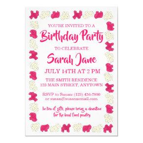 Pink Animal Crackers Cookies Circus Birthday Party Invitations