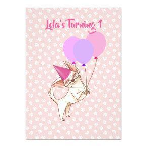 Pink Baby Girl Chihuahua Birthday Invitation