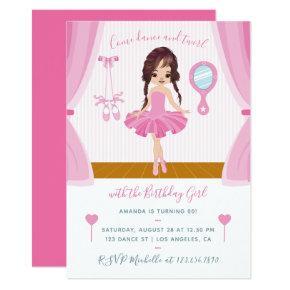 Pink Ballerina theme Birthday Invitation