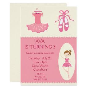 Pink Ballet Dancer Birthday Party Invitation