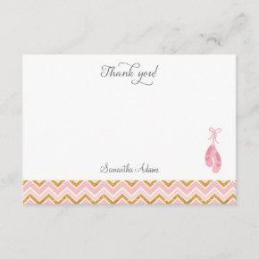Pink Ballet Shoe Thank You Card