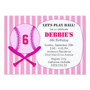 Pink Baseball Kid's Birthday Party for Girls Invitation