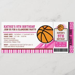 Pink Basketball Ticket Pass Birthday Invitation